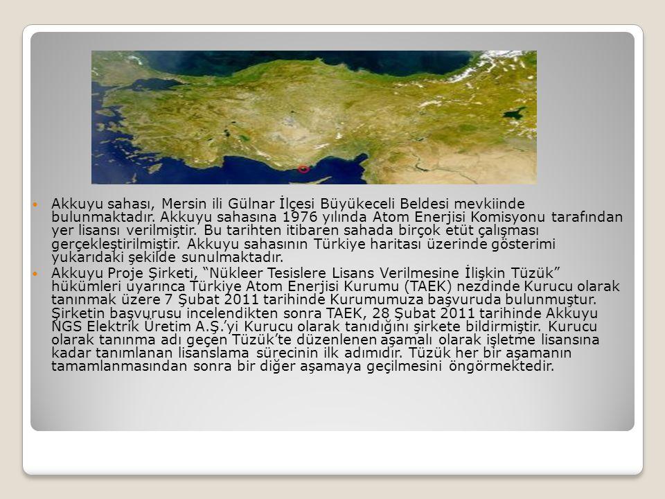 Akkuyu sahası, Mersin ili Gülnar İlçesi Büyükeceli Beldesi mevkiinde bulunmaktadır. Akkuyu sahasına 1976 yılında Atom Enerjisi Komisyonu tarafından ye
