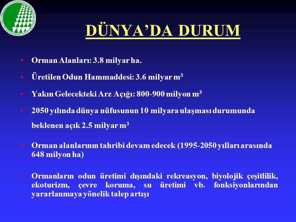 TÜRKİYE'DE DURUM 21.7 milyon ha.