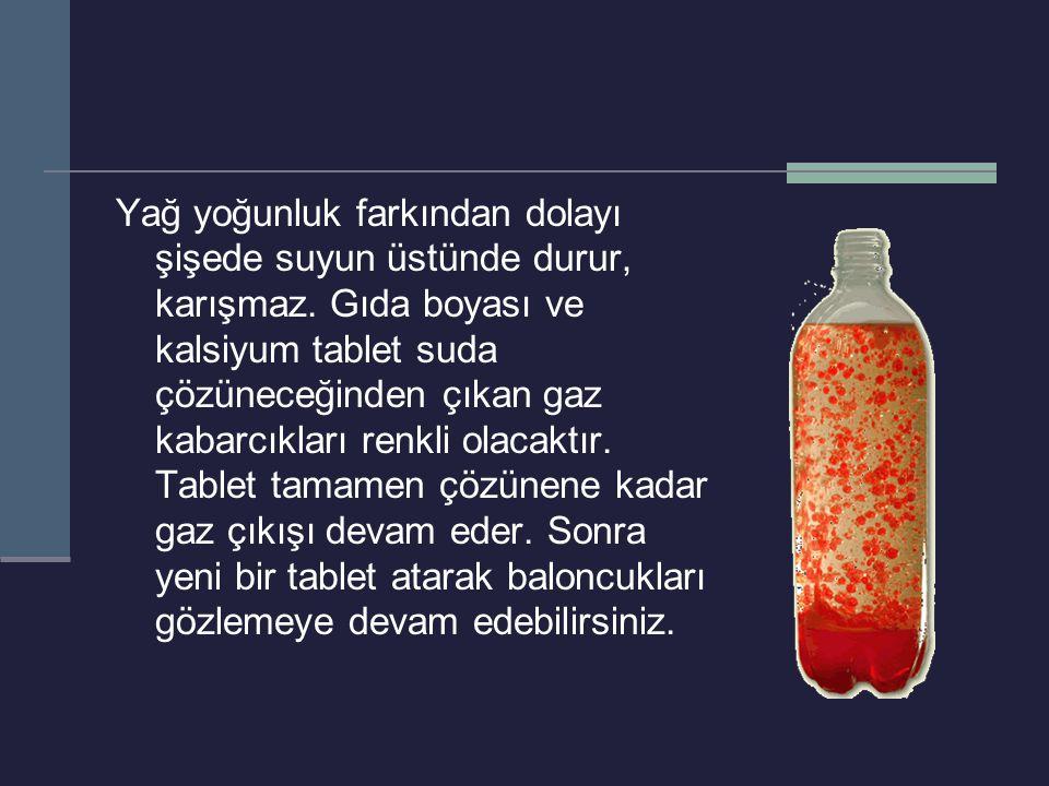 Yağ yoğunluk farkından dolayı şişede suyun üstünde durur, karışmaz. Gıda boyası ve kalsiyum tablet suda çözüneceğinden çıkan gaz kabarcıkları renkli o