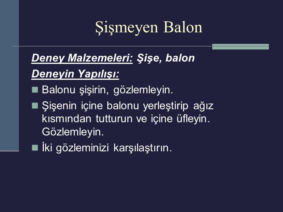 Şişmeyen Balon Deney Malzemeleri: Şişe, balon Deneyin Yapılışı: Balonu şişirin, gözlemleyin. Şişenin içine balonu yerleştirip ağız kısmından tutturun