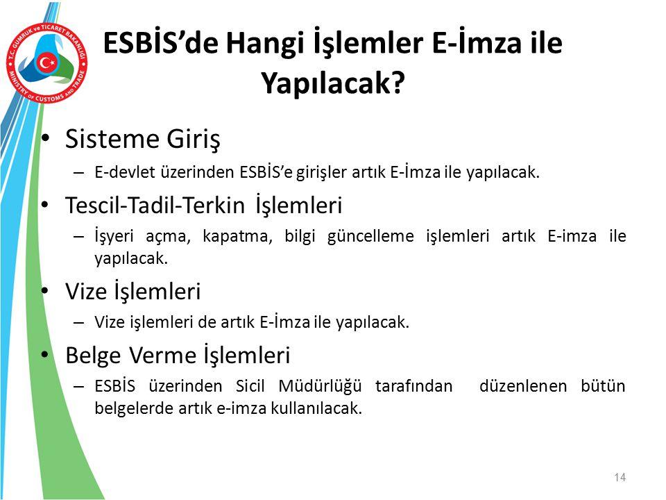ESBİS'de Hangi İşlemler E-İmza ile Yapılacak? Sisteme Giriş – E-devlet üzerinden ESBİS'e girişler artık E-İmza ile yapılacak. Tescil-Tadil-Terkin İşle