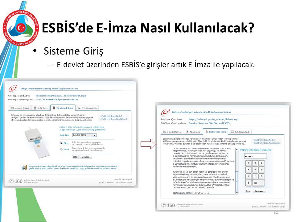 ESBİS'de E-İmza Nasıl Kullanılacak? Sisteme Giriş – E-devlet üzerinden ESBİS'e girişler artık E-İmza ile yapılacak. 15