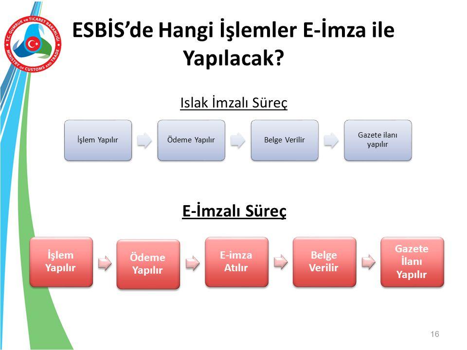 ESBİS'de Hangi İşlemler E-İmza ile Yapılacak? 16 İşlem YapılırÖdeme YapılırBelge Verilir Gazete ilanı yapılır İşlem Yapılır Ödeme Yapılır E-imza Atılı