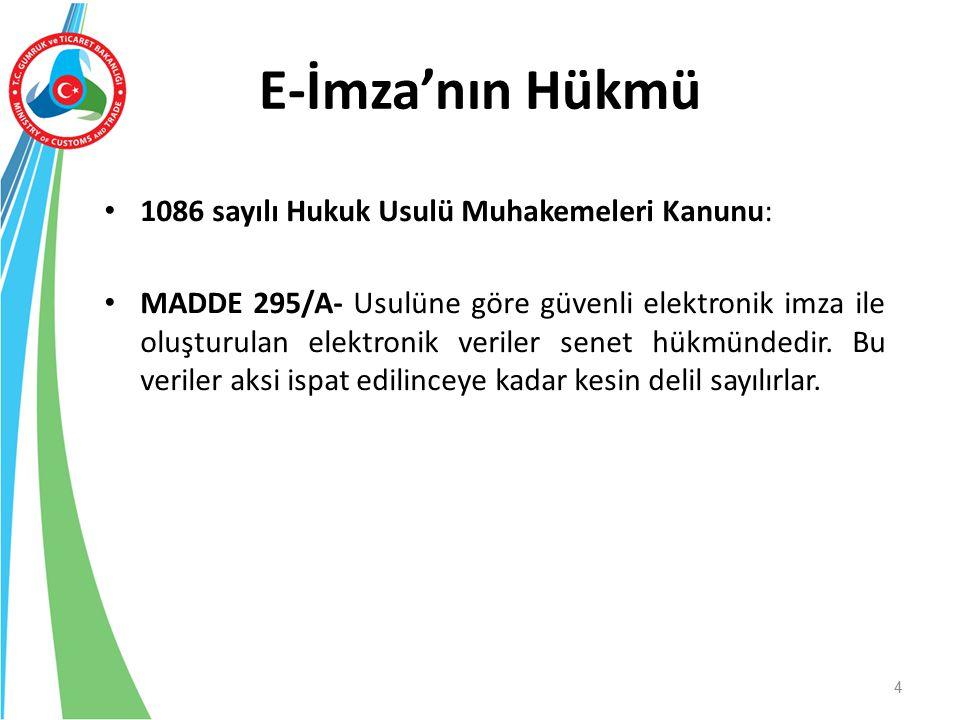 E-İmza'nın Hükmü 1086 sayılı Hukuk Usulü Muhakemeleri Kanunu: MADDE 295/A- Usulüne göre güvenli elektronik imza ile oluşturulan elektronik veriler sen