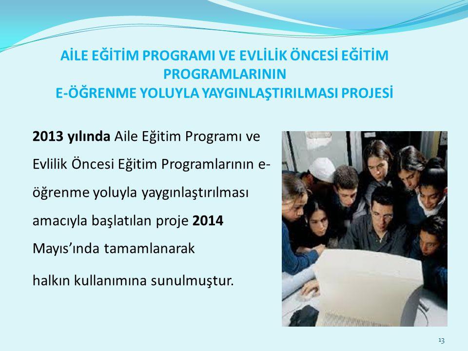 AİLE EĞİTİM PROGRAMI VE EVLİLİK ÖNCESİ EĞİTİM PROGRAMLARININ E-ÖĞRENME YOLUYLA YAYGINLAŞTIRILMASI PROJESİ 2013 yılında Aile Eğitim Programı ve Evlilik