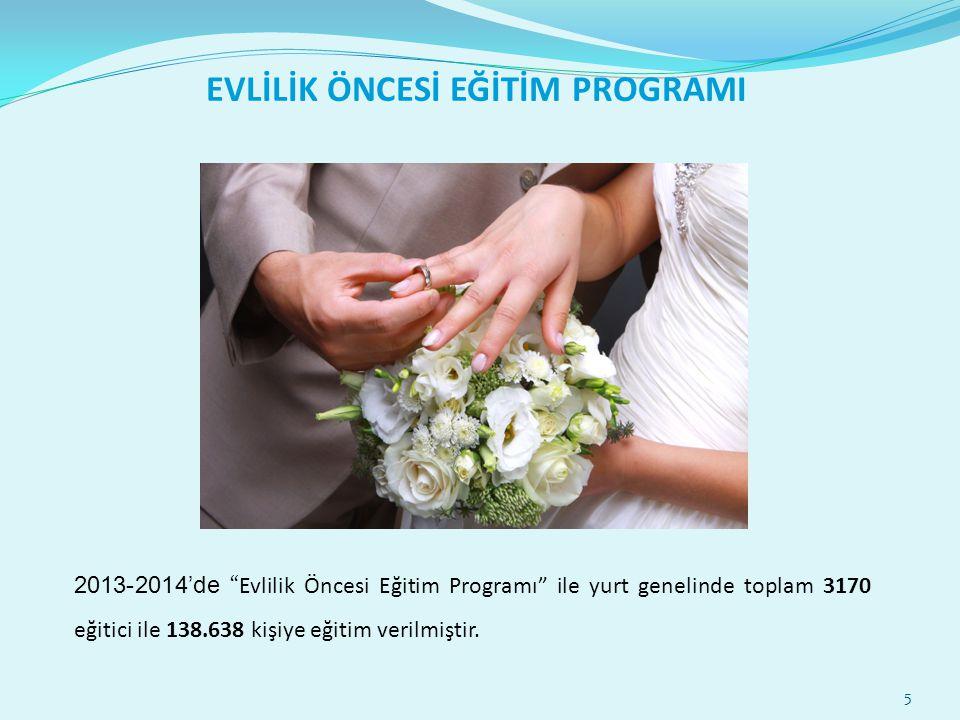 """5 EVLİLİK ÖNCESİ EĞİTİM PROGRAMI 2013-2014'de """"Evlilik Öncesi Eğitim Programı"""" ile yurt genelinde toplam 3170 eğitici ile 138.638 kişiye eğitim verilm"""