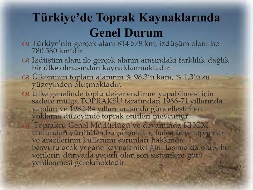   Türkiye'nin gerçek alanı 814 578 km, izdüşüm alanı ise 780 580 km'dir.  İzdüşüm alanı ile gerçek alanın arasındaki farklılık dağlık bir ülke olma