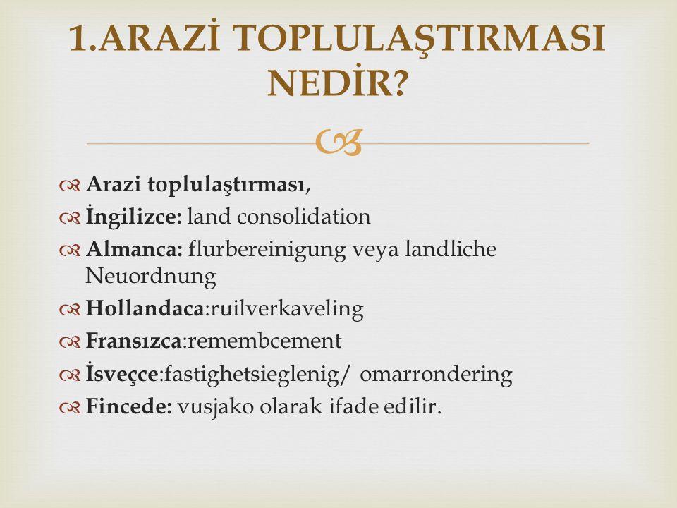   Arazi toplulaştırması,  İngilizce: land consolidation  Almanca: flurbereinigung veya landliche Neuordnung  Hollandaca :ruilverkaveling  Fransı