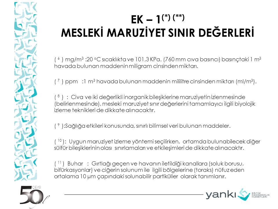 EK – 1 (*) (**) MESLEKİ MARUZİYET SINIR DEĞERLERİ ( 6 ) mg/m 3 :20 o C sıcaklıkta ve 101,3 KPa. (760 mm cıva basıncı) basınçtaki 1 m 3 havada bulunan