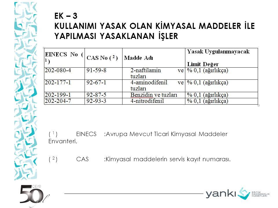 EK – 3 KULLANIMI YASAK OLAN KİMYASAL MADDELER İLE YAPILMASI YASAKLANAN İŞLER ( 1 )EINECS:Avrupa Mevcut Ticari Kimyasal Maddeler Envanteri. ( 2 )CAS:Ki