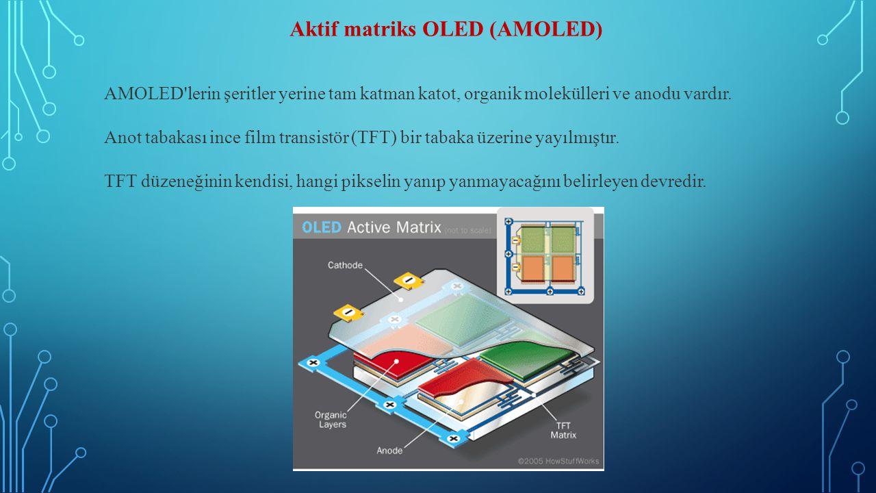 Aktif matriks OLED (AMOLED) AMOLED'lerin şeritler yerine tam katman katot, organik molekülleri ve anodu vardır. Anot tabakası ince film transistör (TF