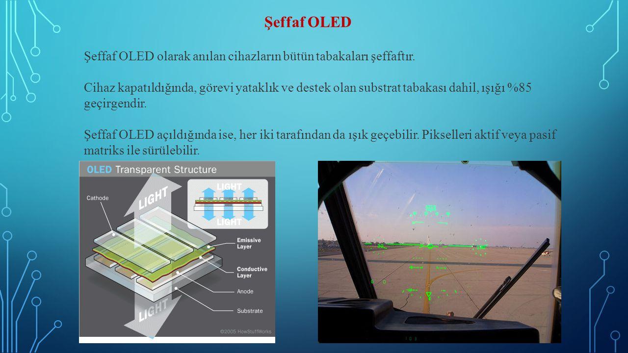Şeffaf OLED Şeffaf OLED olarak anılan cihazların bütün tabakaları şeffaftır. Cihaz kapatıldığında, görevi yataklık ve destek olan substrat tabakası da