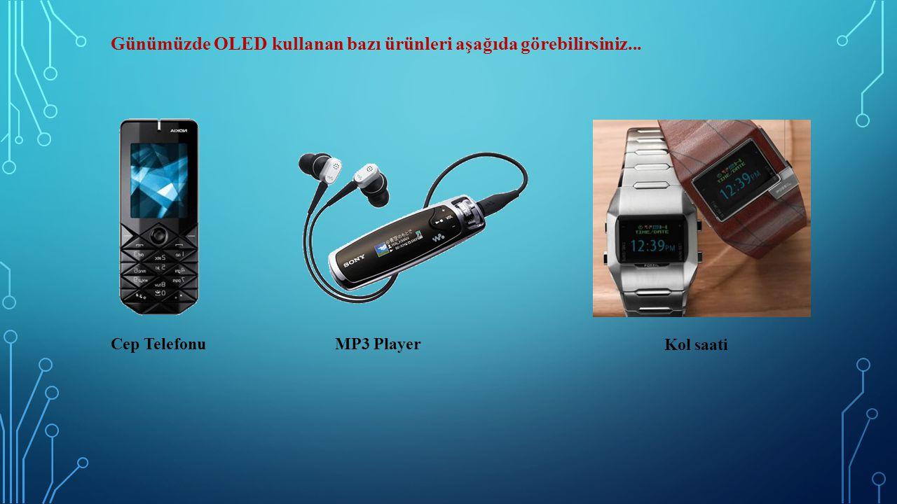 Günümüzde OLED kullanan bazı ürünleri aşağıda görebilirsiniz... Cep TelefonuMP3 Player Kol saati