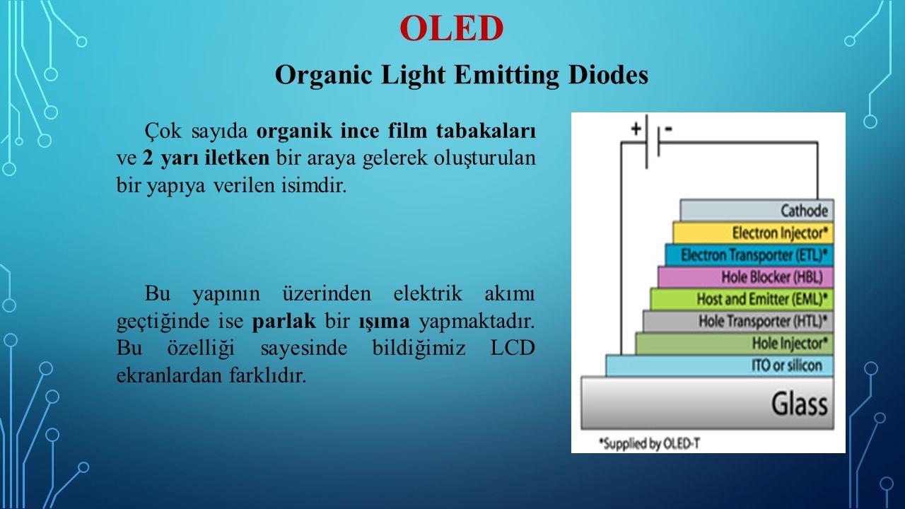 OLED Çok sayıda organik ince film tabakaları ve 2 yarı iletken bir araya gelerek oluşturulan bir yapıya verilen isimdir. Bu yapının üzerinden elektrik