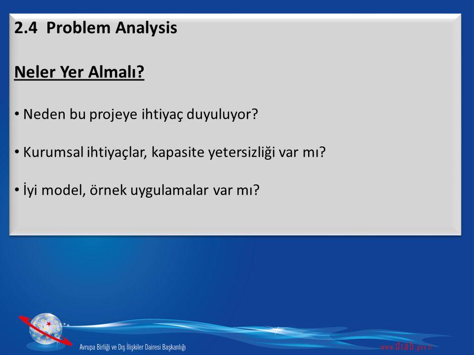 2.4 Problem Analysis Neler Yer Almalı? Neden bu projeye ihtiyaç duyuluyor? Kurumsal ihtiyaçlar, kapasite yetersizliği var mı? İyi model, örnek uygulam