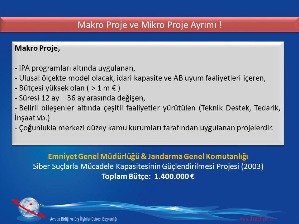 Makro Proje ve Mikro Proje Ayrımı ! Makro Proje, - IPA programları altında uygulanan, - Ulusal ölçekte model olacak, idari kapasite ve AB uyum faaliye