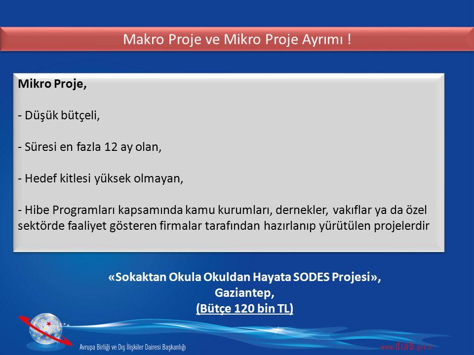 Makro Proje ve Mikro Proje Ayrımı ! Mikro Proje, - Düşük bütçeli, - Süresi en fazla 12 ay olan, - Hedef kitlesi yüksek olmayan, - Hibe Programları kap