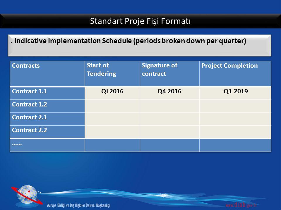Standart Proje Fişi Formatı. Indicative Implementation Schedule (periods broken down per quarter)