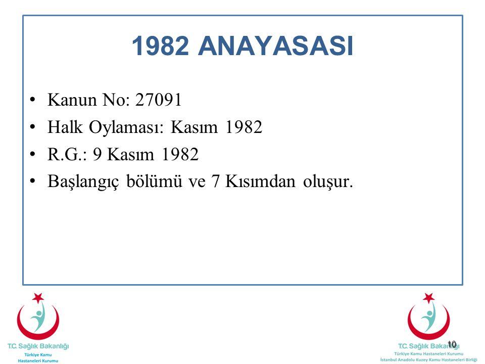 10 1982 ANAYASASI Kanun No: 27091 Halk Oylaması: Kasım 1982 R.G.: 9 Kasım 1982 Başlangıç bölümü ve 7 Kısımdan oluşur.
