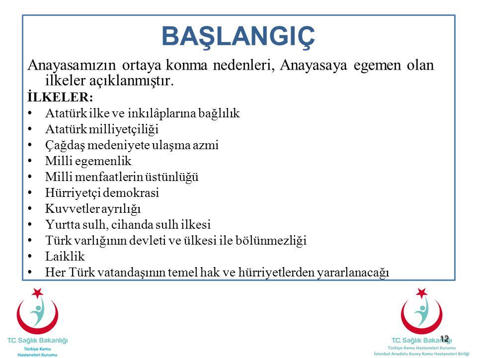 12 BAŞLANGIÇ Anayasamızın ortaya konma nedenleri, Anayasaya egemen olan ilkeler açıklanmıştır. İLKELER: Atatürk ilke ve inkılâplarına bağlılık Atatürk
