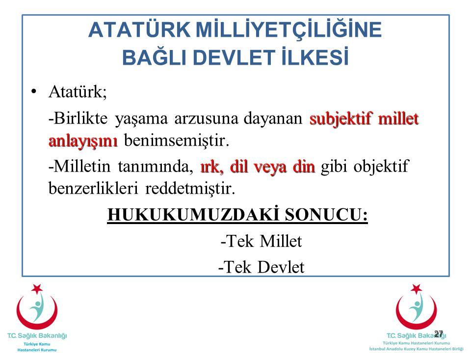 27 ATATÜRK MİLLİYETÇİLİĞİNE BAĞLI DEVLET İLKESİ Atatürk; subjektif millet anlayışını -Birlikte yaşama arzusuna dayanan subjektif millet anlayışını ben