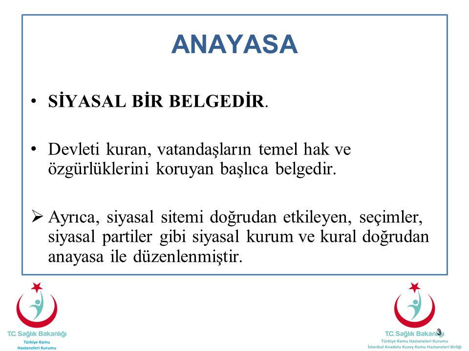 34 GENEL ESASLAR Değiştirilemeyecek Hükümler (Madde-4) Anayasanın ilk üç maddesinin değiştirilemeyeceği ve değiştirilmesinin teklif dahi edilemeyeceği hükmünü içermektedir.