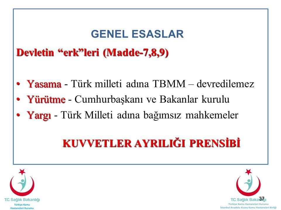 """37 GENEL ESASLAR Devletin """"erk""""leri (Madde-7,8,9) Yasama Yasama - Türk milleti adına TBMM – devredilemez Yürütme Yürütme - Cumhurbaşkanı ve Bakanlar k"""