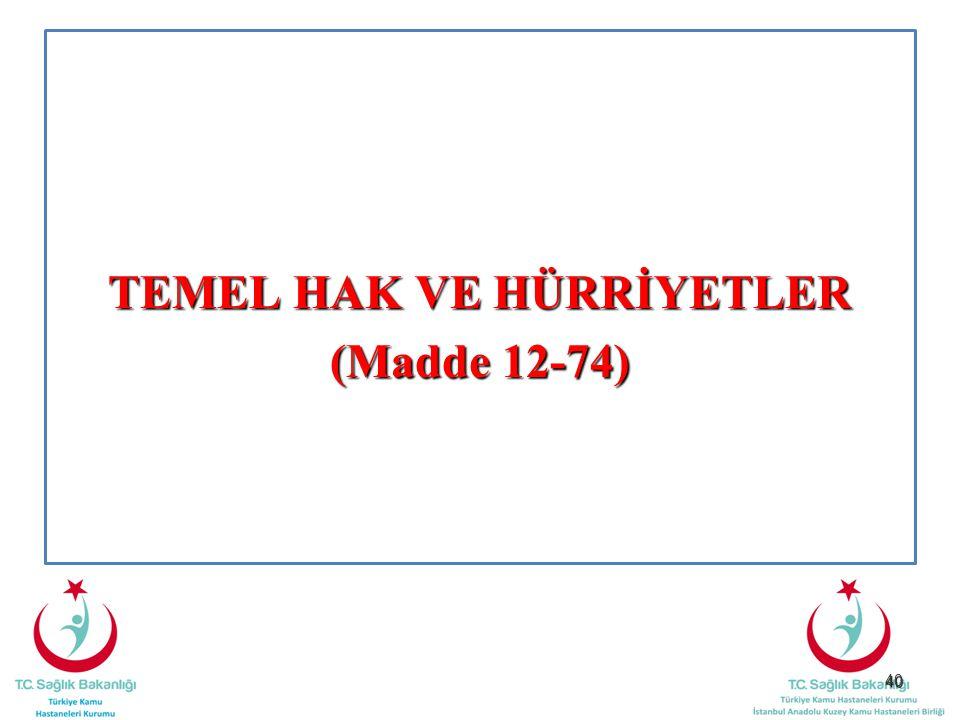 40 TEMEL HAK VE HÜRRİYETLER (Madde 12-74)