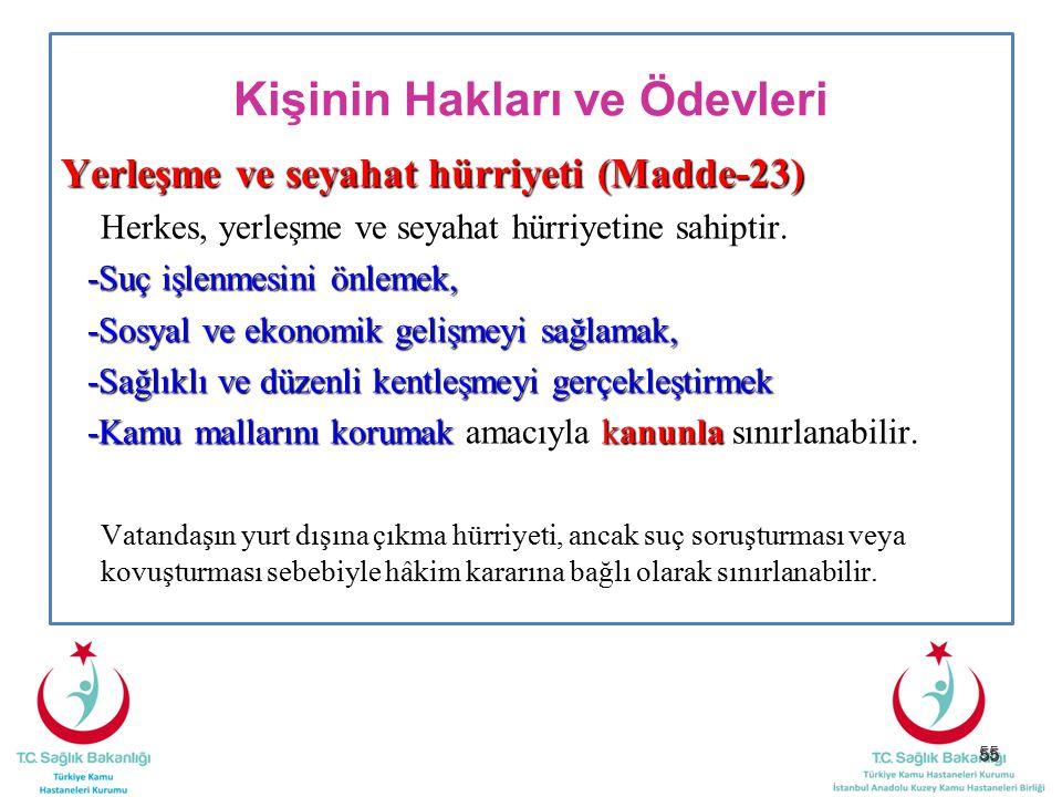 55 Kişinin Hakları ve Ödevleri Yerleşme ve seyahat hürriyeti (Madde-23) Herkes, yerleşme ve seyahat hürriyetine sahiptir. -Suç işlenmesini önlemek, -S