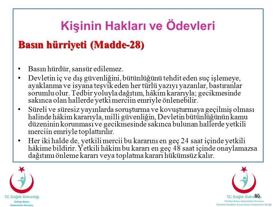 60 Kişinin Hakları ve Ödevleri Basın hürriyeti (Madde-28) Basın hürdür, sansür edilemez. Devletin iç ve dış güvenliğini, bütünlüğünü tehdit eden suç i