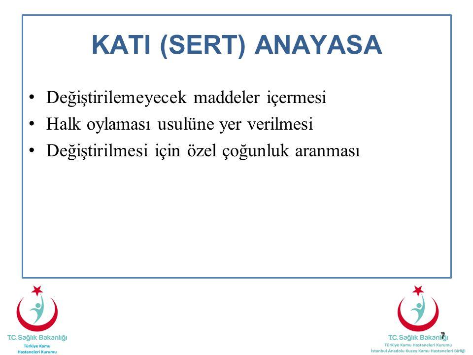 7 KATI (SERT) ANAYASA Değiştirilemeyecek maddeler içermesi Halk oylaması usulüne yer verilmesi Değiştirilmesi için özel çoğunluk aranması