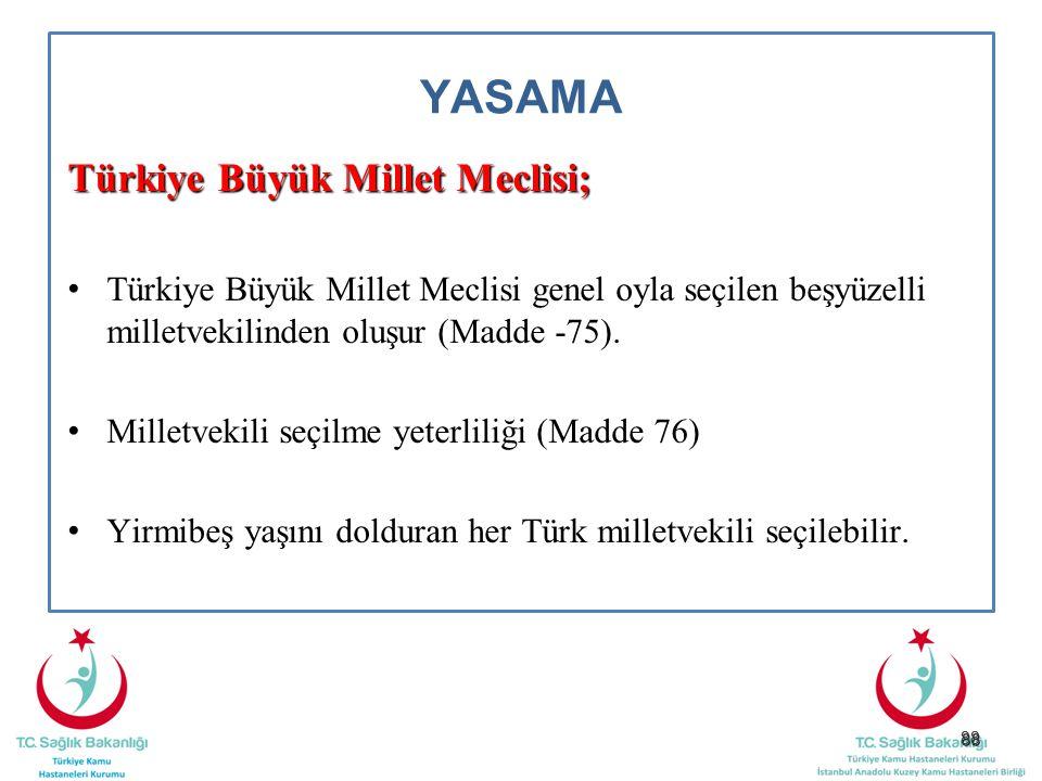 88 YASAMA Türkiye Büyük Millet Meclisi; Türkiye Büyük Millet Meclisi genel oyla seçilen beşyüzelli milletvekilinden oluşur (Madde -75). Milletvekili s