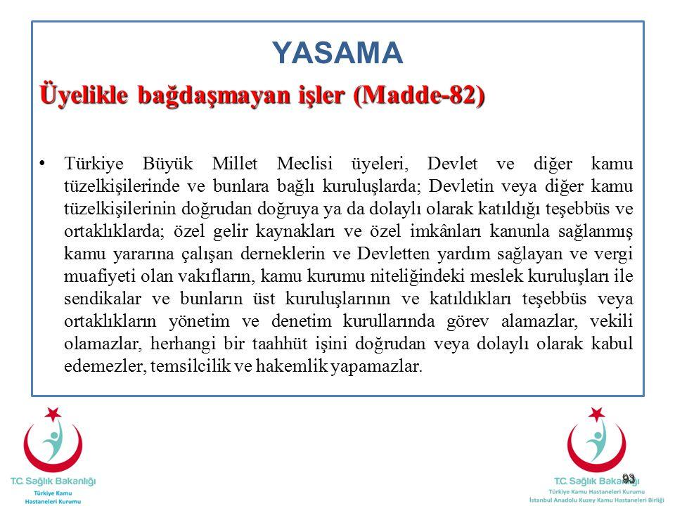 93 YASAMA Üyelikle bağdaşmayan işler (Madde-82) Türkiye Büyük Millet Meclisi üyeleri, Devlet ve diğer kamu tüzelkişilerinde ve bunlara bağlı kuruluşla