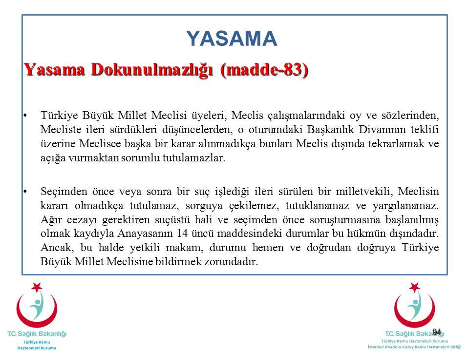 94 YASAMA Yasama Dokunulmazlığı (madde-83) Türkiye Büyük Millet Meclisi üyeleri, Meclis çalışmalarındaki oy ve sözlerinden, Mecliste ileri sürdükleri