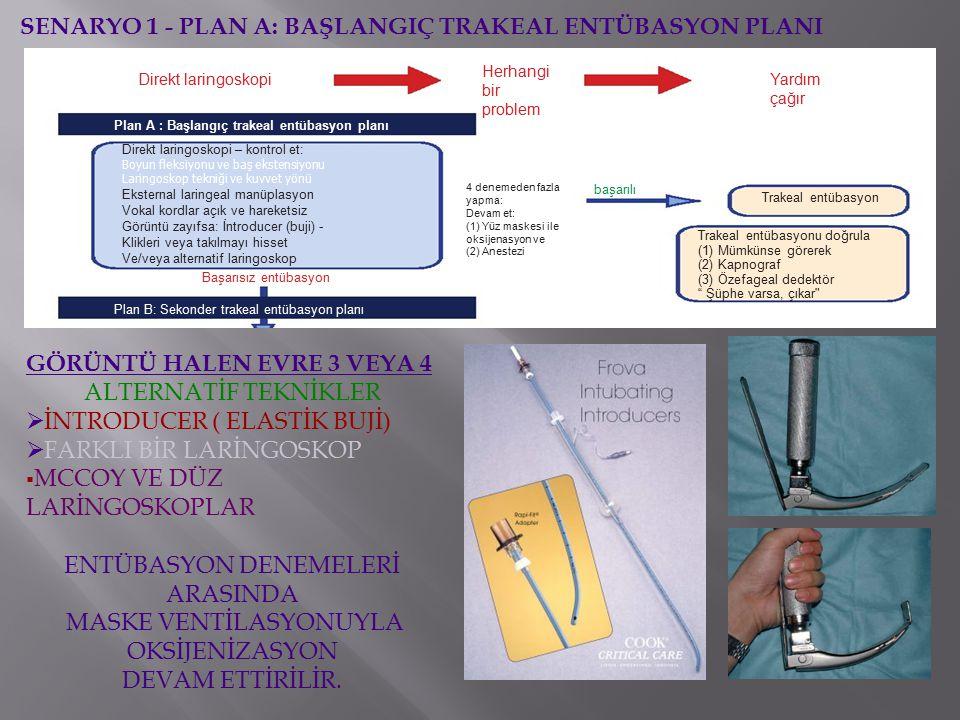 Direkt laringoskopi Plan A : Başlangıç trakeal entübasyon planı Direkt laringoskopi – kontrol et: Boyun fleksiyonu ve baş ekstensiyonu Laringoskop tekniği ve kuvvet yönü Eksternal laringeal manüplasyon Vokal kordlar açık ve hareketsiz Görüntü zayıfsa: İntroducer (buji) - Klikleri veya takılmayı hisset Ve/veya alternatif laringoskop Başarısız entübasyon Plan B: Sekonder trakeal entübasyon planı Herhangi bir problem Yardım çağır 4 denemeden fazla yapma: Devam et: (1) Yüz maskesi ile oksijenasyon ve (2) Anestezi başarılı Trakeal entübasyon Trakeal entübasyonu doğrula (1) Mümkünse görerek (2) Kapnograf (3) Özefageal dedektör Şüphe varsa, çıkar SENARYO 1 - PLAN A: BAŞLANGIÇ TRAKEAL ENTÜBASYON PLANI GÖRÜNTÜ HALEN EVRE 3 VEYA 4 ALTERNATİF TEKNİKLER  İNTRODUCER ( ELASTİK BUJİ)  FARKLI BİR LARİNGOSKOP  MCCOY VE DÜZ LARİNGOSKOPLAR ENTÜBASYON DENEMELERİ ARASINDA MASKE VENTİLASYONUYLA OKSİJENİZASYON DEVAM ETTİRİLİR.