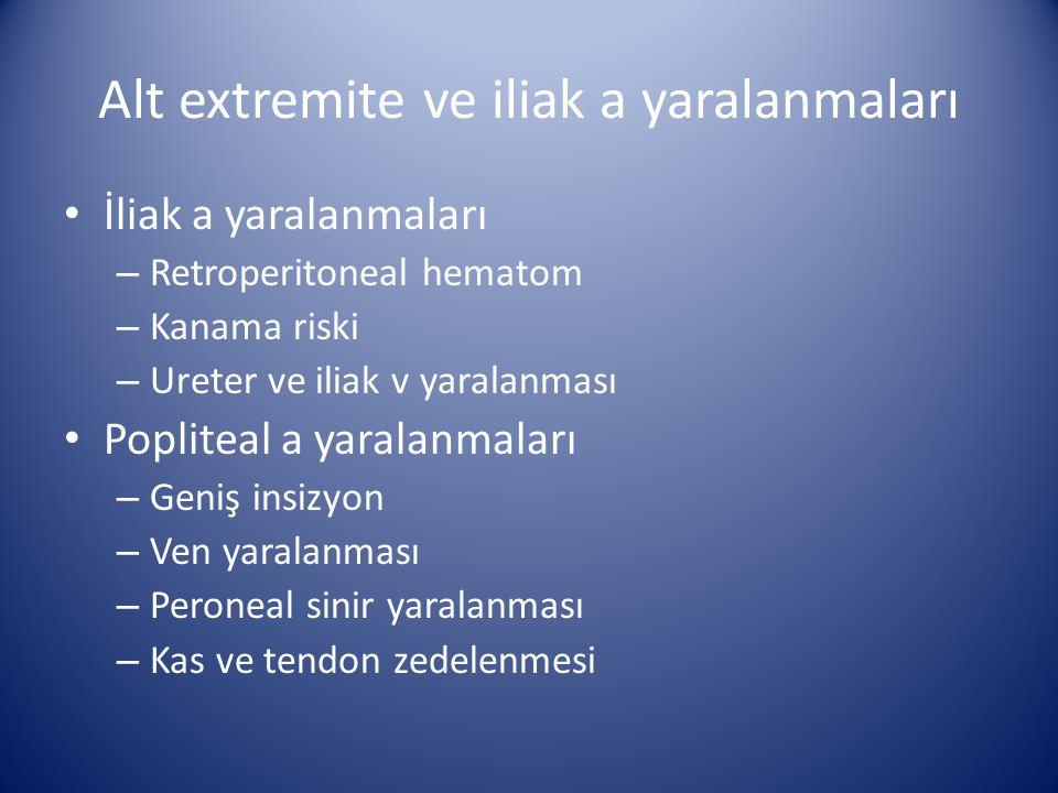 Alt extremite ve iliak a yaralanmaları İliak a yaralanmaları – Retroperitoneal hematom – Kanama riski – Ureter ve iliak v yaralanması Popliteal a yara
