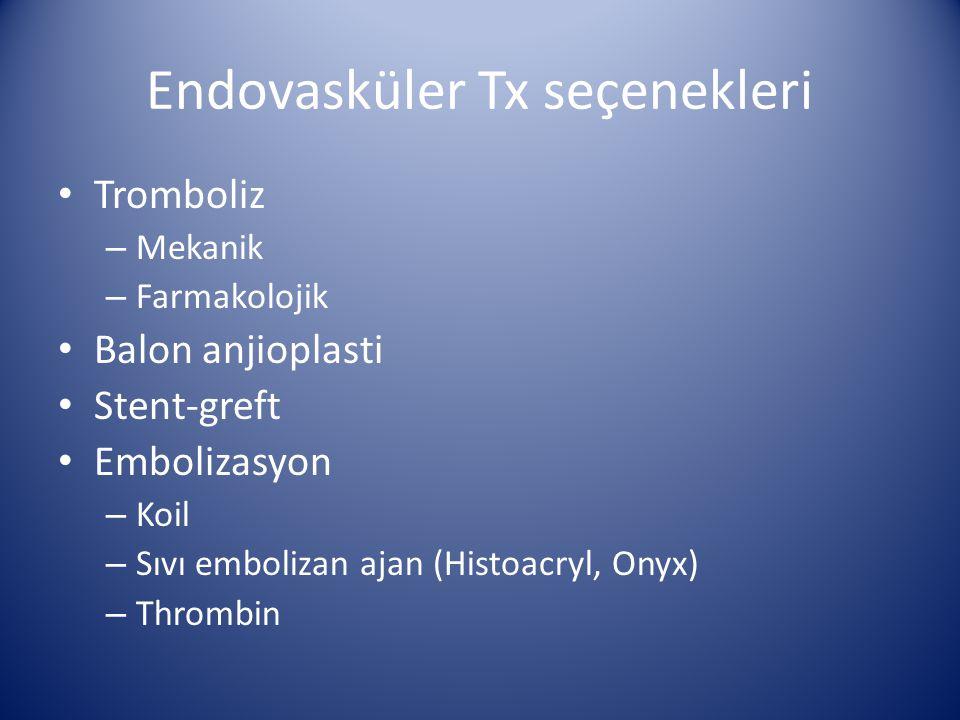 Endovasküler Tx seçenekleri Tromboliz – Mekanik – Farmakolojik Balon anjioplasti Stent-greft Embolizasyon – Koil – Sıvı embolizan ajan (Histoacryl, On