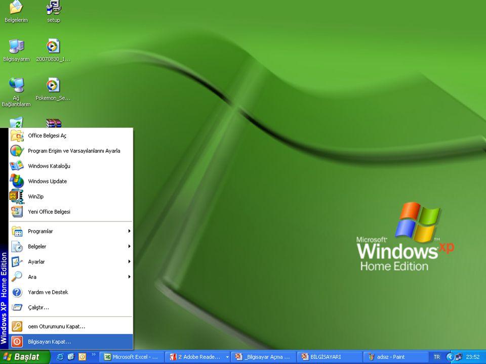 Açık pencereler ve programlar kapatılıp düğmesi açılır.