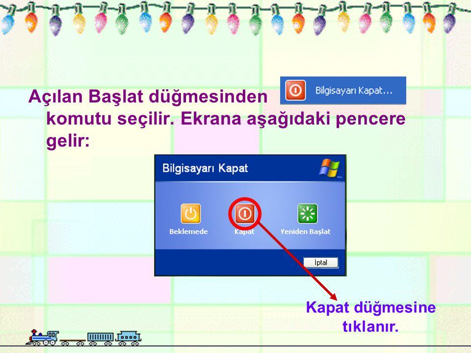 Açılan Başlat düğmesinden komutu seçilir. Ekrana aşağıdaki pencere gelir: Kapat düğmesine tıklanır.