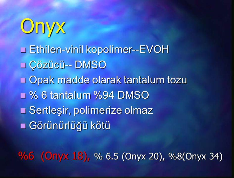Onyx Ethilen-vinil kopolimer--EVOH Ethilen-vinil kopolimer--EVOH Çözücü-- DMSO Çözücü-- DMSO Opak madde olarak tantalum tozu Opak madde olarak tantalu