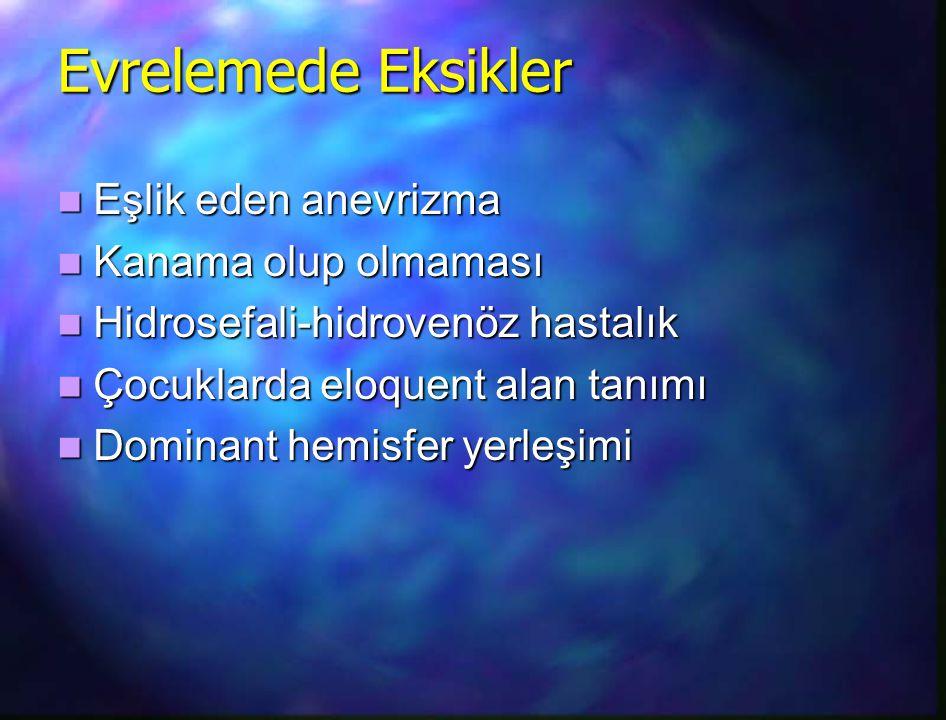 Evrelemede Eksikler Eşlik eden anevrizma Eşlik eden anevrizma Kanama olup olmaması Kanama olup olmaması Hidrosefali-hidrovenöz hastalık Hidrosefali-hi