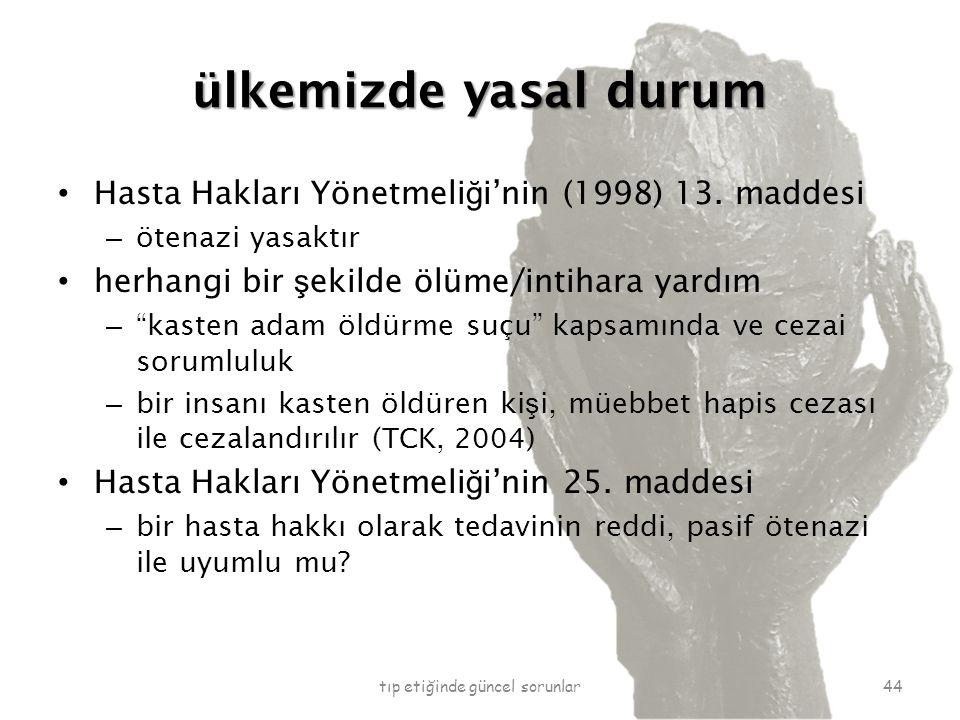 ülkemizde yasal durum Hasta Hakları Yönetmeli ğ i'nin (1998) 13.