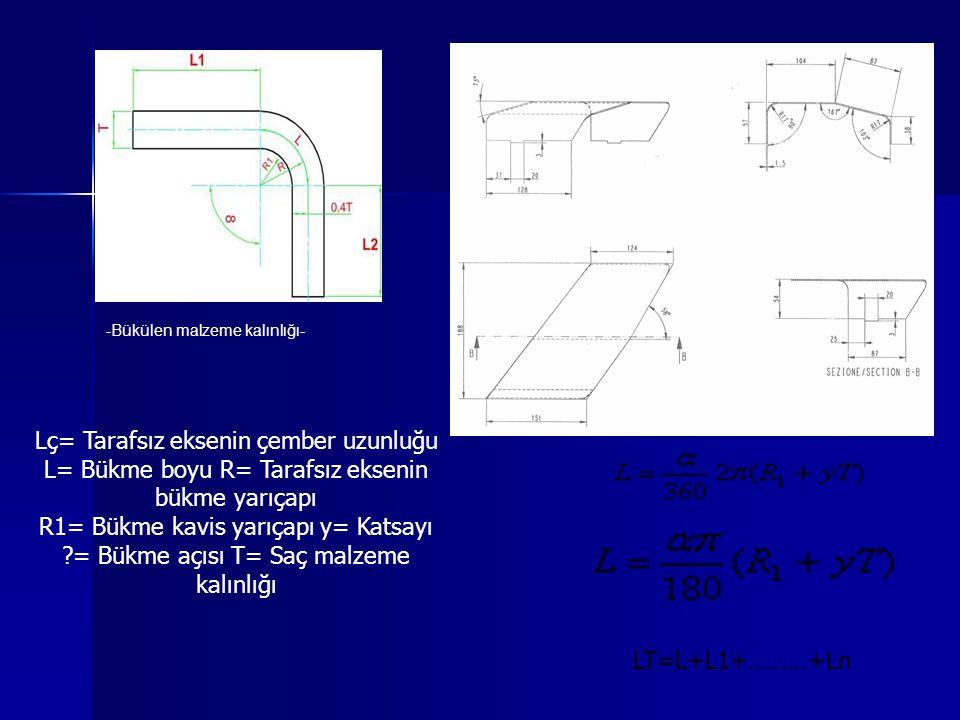 -Bükülen malzeme kalınlığı- LT=L+L1+………+Ln Lç= Tarafsız eksenin çember uzunluğu L= Bükme boyu R= Tarafsız eksenin bükme yarıçapı R1= Bükme kavis yarıç