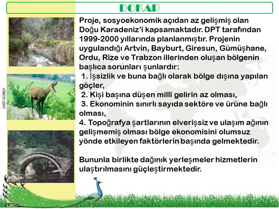 DOKAP Proje, sosyoekonomik açıdan az geli ş mi ş olan Do ğ u Karadeniz'i kapsamaktadır.