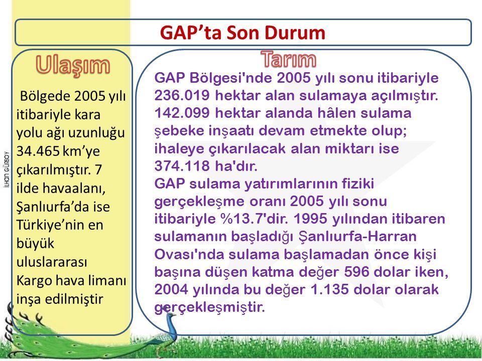 GAP Bölgesi nde 2005 yılı sonu itibariyle 236.019 hektar alan sulamaya açılmı ş tır.