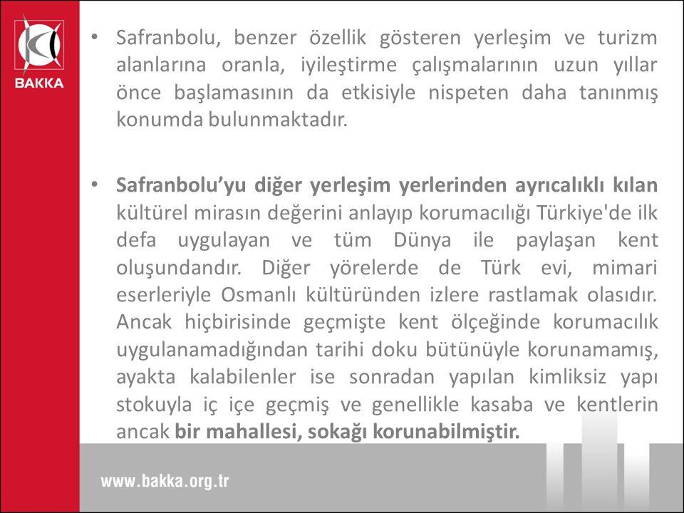 Safranbolu, benzer özellik gösteren yerleşim ve turizm alanlarına oranla, iyileştirme çalışmalarının uzun yıllar önce başlamasının da etkisiyle nispeten daha tanınmış konumda bulunmaktadır.