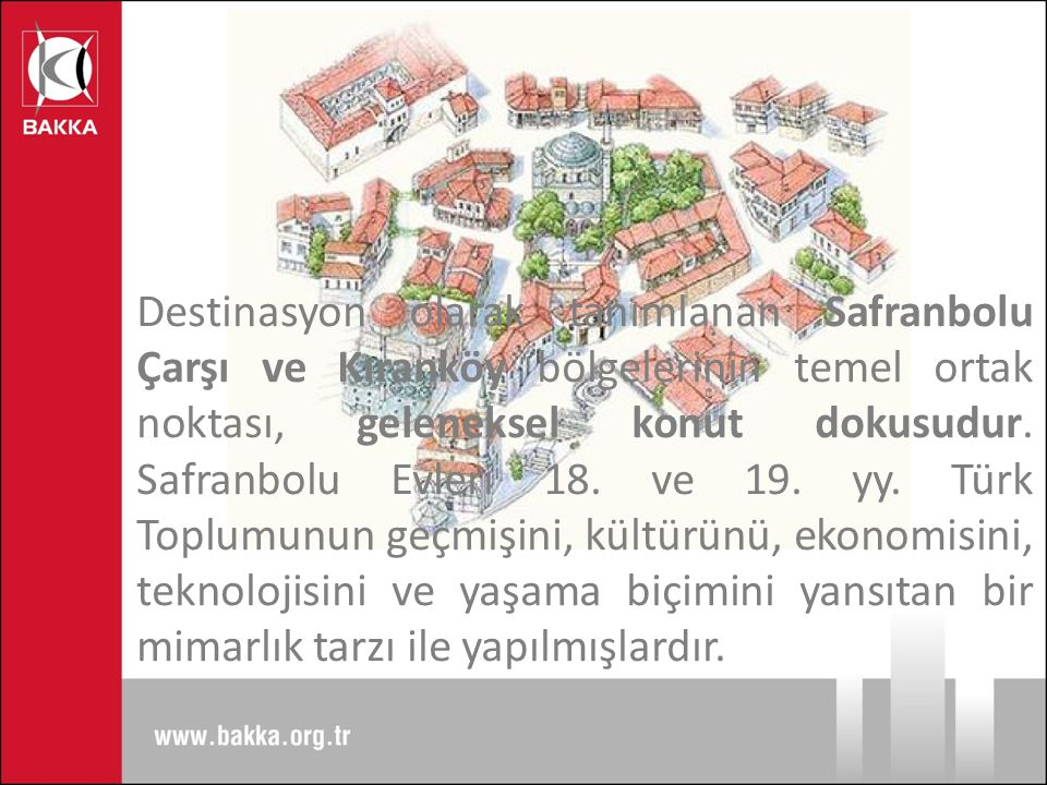 Destinasyon olarak tanımlanan Safranbolu Çarşı ve Kıranköy bölgelerinin temel ortak noktası, geleneksel konut dokusudur.