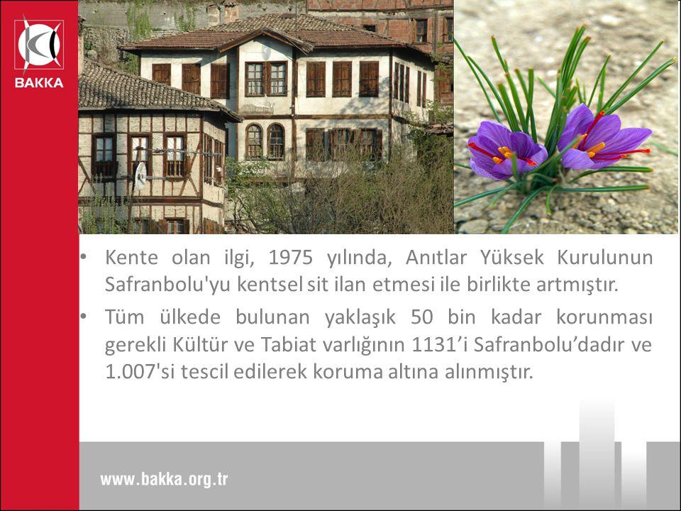 Kente olan ilgi, 1975 yılında, Anıtlar Yüksek Kurulunun Safranbolu yu kentsel sit ilan etmesi ile birlikte artmıştır.