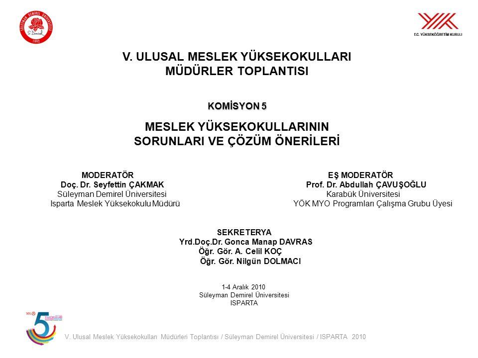 V. Ulusal Meslek Yüksekokulları Müdürleri Toplantısı / Süleyman Demirel Üniversitesi / ISPARTA 2010 V. ULUSAL MESLEK YÜKSEKOKULLARI MÜDÜRLER TOPLANTIS