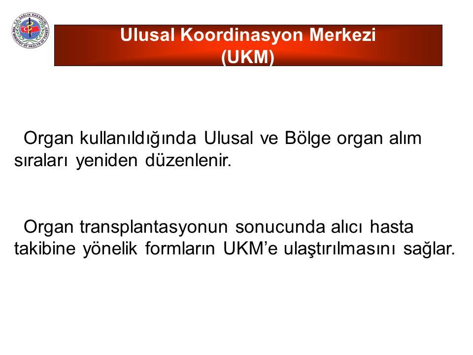 Organ kullanıldığında Ulusal ve Bölge organ alım sıraları yeniden düzenlenir. Organ transplantasyonun sonucunda alıcı hasta takibine yönelik formların